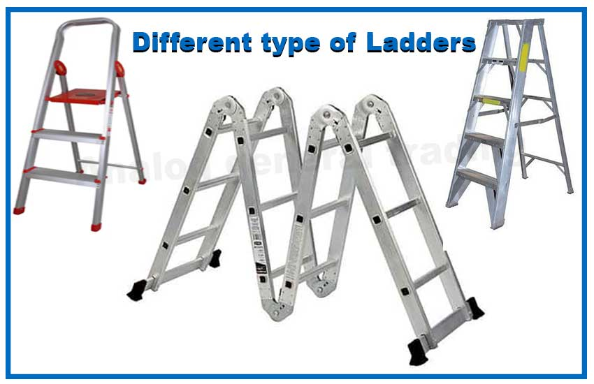 Different types of ladders which help construction works.